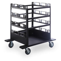 Portable Stanchion Storage Cart - Horizontal 12-Post Capacity QS