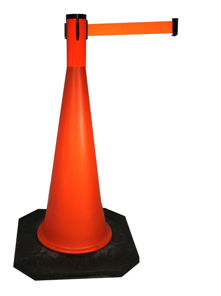 Retracta-Cone Cone Mount Retractable 15ft Belt Barrier, Orange, Visiontron RC15FO-BK