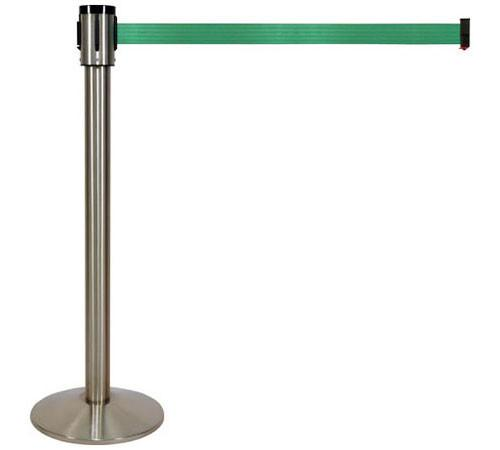 Retracta-Belt 15ft Hyper-Strength Single Line Retractable Belt Barrier w Satin Aluminum Stanchion Post, Visiontron 320SASS-BK