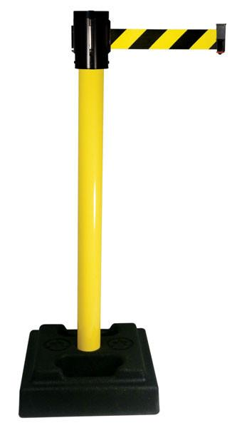 Retracta Belt Utility Post with 15 foot Black and Yellow Diagonal belt