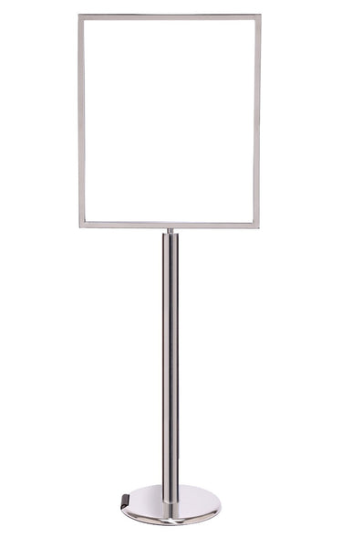 Roller Base 22 x 28 Polished Chrome - Heavy-Duty Pedestal Sign Stand w/Vertical Poster Display Frame