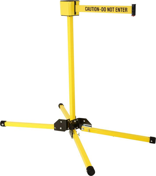 Retracta-Belt 30' Portable Folding Leg Stanchion - Yellow