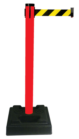 Retracta Belt PVC Oudoor Crowd Control 10 Foot Belt Stanchion Utility Safety Post Red