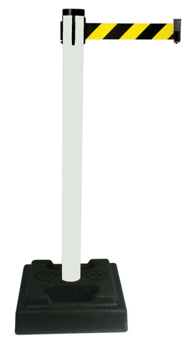 Retracta Belt PVC Oudoor Crowd Control 10 Foot Belt Stanchion Utility Safety Post White