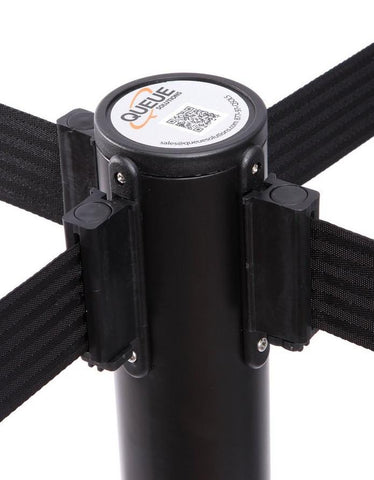 4 way belt connection QueuePro 250 11 or 13 Foot Weatherized Outdoor Retractable Belt Stanchion Black