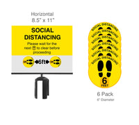 Social Distancing Post Top Sign & Floor Decals Bundle For Retractable Belt Barrier Stanchions QueueSolutions PSH8511-SD