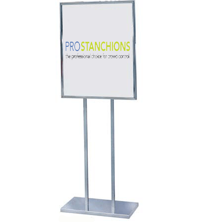 Poster Sign Stand 22in x 28in Heavy-Weight Retail Flat Base, Chrome, Visiontron BH29