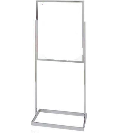 22in x 28in Chrome Poster Sign Display Stand w Square-Tube Base, Visiontron BH30