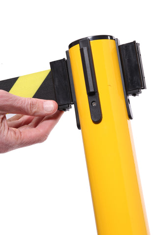 Belt Lock SafetyPro 250 Yellow Industrial Safety Retractable Caution Tape Stanchion