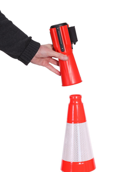 Demo - ConePro500 Orange & Reflective Cone Mount Retractable 12' Belt Barrier