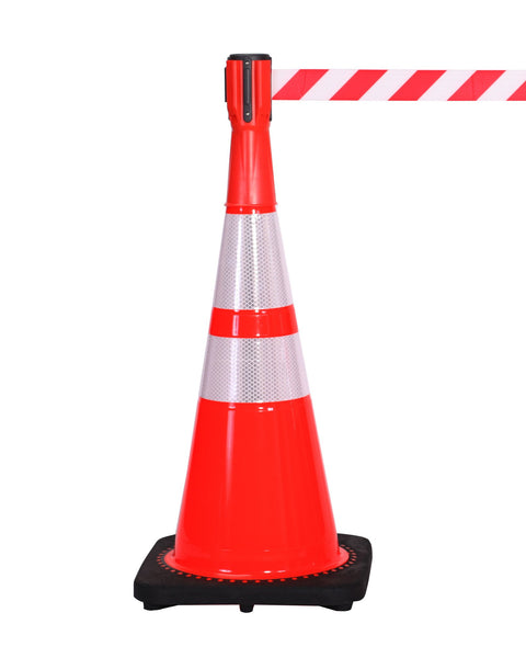 On Cone - ConePro500 Orange & Reflective Cone Mount Retractable 10' Belt Barrier