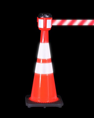 Dark - ConePro600 Orange & Reflective Cone Mount Retractable 30' Belt Barrier