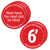 Direction Dots, Peel and Stick Social Distance Floor Markers, Visiontron DD500-5