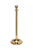Polished Brass Dome Base Elegance Ball Top Premium Post and Rope Stanchion