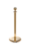 Polished Brass Flat Base Elegance Ball Top Premium Post and Rope Stanchion