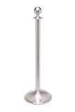Satin Brushed Stainless Steel Dome Base Elegance Ball Top Premium Post and Rope Stanchion