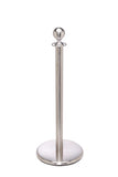 Satin Stainless Steel Flat Base Elegance Ball Top Premium Post and Rope Stanchion
