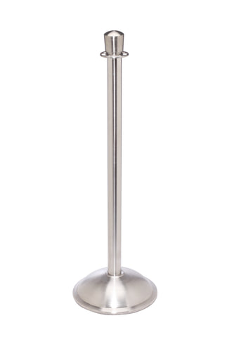 Red Carpet Elegance Crown Top Rope Stanchion Satin Brushed Stainless Steel Dome Base