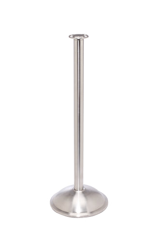 Red Carpet Elegance Flat TopRope Stanchion Satin Brushed Stainless Steel Dome Base