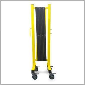 FlexPro Portable Expanding Steel Aluminum Barricade Yellow/Black Collapsed