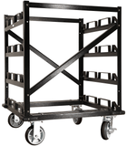 Empty - Portable Stanchion Storage Cart - 12 Post Capacity w/Locking Wheels