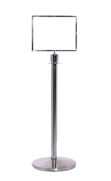 Polished Chrome Horizontal Sign Frame For Rope Stanchions
