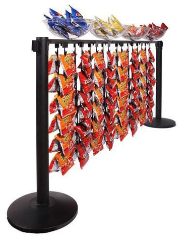 Merchandising Beam for Retractable Belt Stanchion Impulse Buying