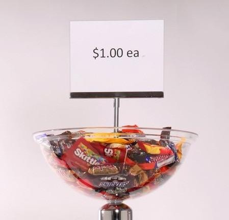 Plastic Pricing Strip For Stanchion Topper Merchandising Display Bowl
