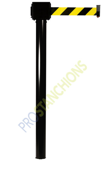 Black - Retracta-Belt Mini Socket Floor Mount 30' Long-Span Stanchion