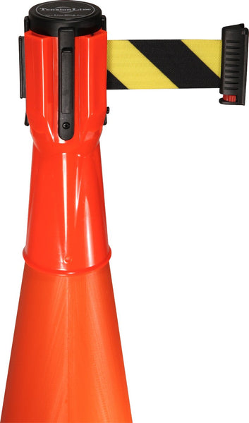 Retracta-Cone Cone Mount Retractable 10ft Belt Barrier, Orange, Visiontron RC10FO-BYD