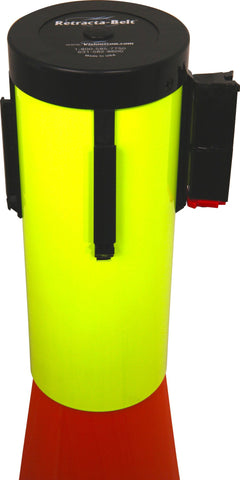 Fluorescent Yellow Retracta Cone 15 Foot BeltCone Topper Retractable Belt Barrier - Visiontron