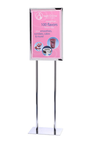 14 x 22 Heavy Duty Polished Chrome - Poster Stands | Queue Solutions
