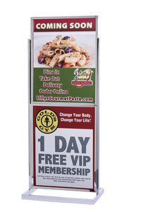 "Poster Sign Stand Dual-Frame 22"" x 28"" - Polished Chrome"