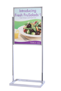 "Poster Sign Stand 22"" x 28"" Retail Square-Tube Base - Chrome"