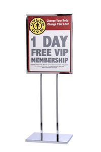 "Retail Poster Sign Stand 22"" x 28"" Heavy-Weight Flat Base - Chrome"