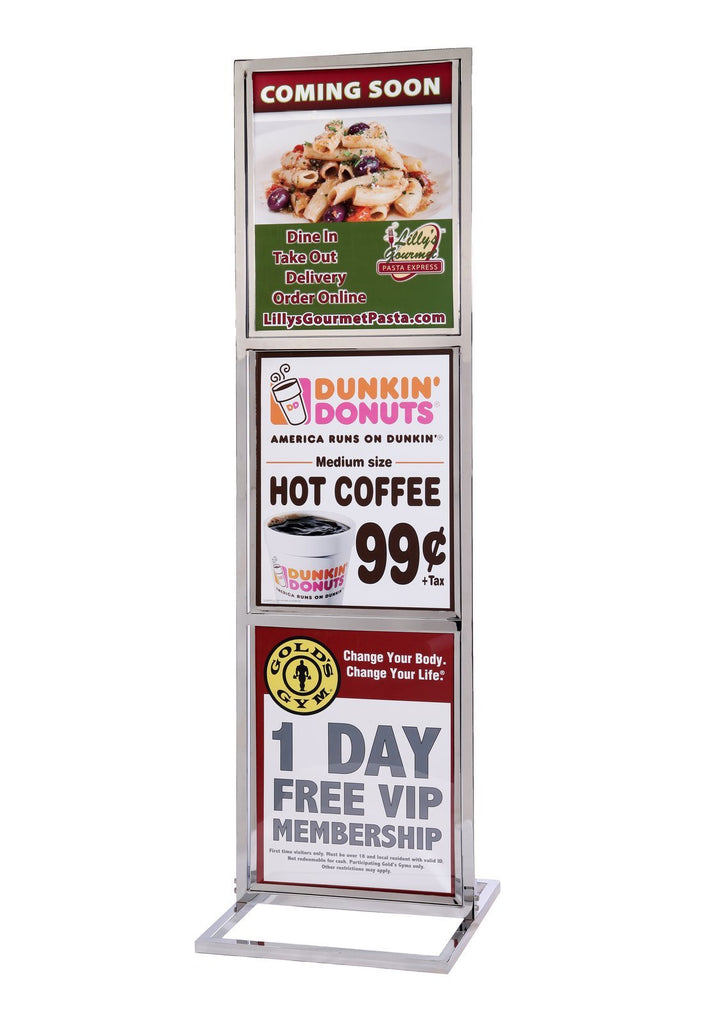 Poster Sign Stand Heavy Duty Three Frame 22 X 28 Queue Solutions