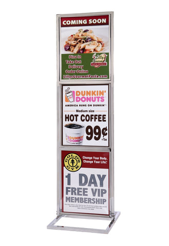 22 x 28 Retail Grade Heavy Duty Triple Frame Poster Stand Polished Chrome