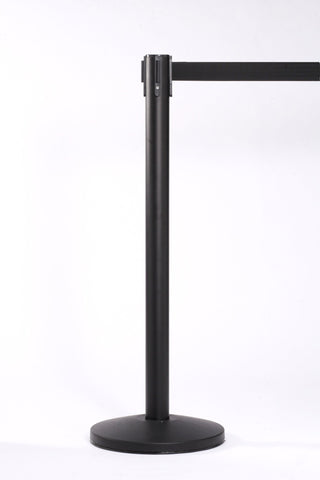QueuePro 250 11 or 13 Foot Weatherized Outdoor Retractable Belt Stanchion Black