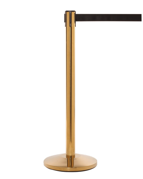 QueueMaster Satin Brass 13' - Retractable Belt Stanchion | Queue Solutions