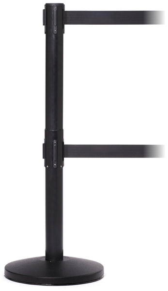 QueueMaster Twin Dual Belt Retractable ADA Compliant Barrier 13' | Black