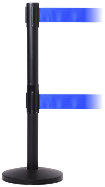 "QueueMaster Twin 3"" Xtra Wide Belt Retractable ADA Barrier 