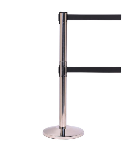 QueueMaster Twin Dual Belt, ADA Compliant, Retractable Belt Barrier, Polished Stainless Stanchion Post, 11ft Belt, QueueSolutions QMTwin550PS-BK110