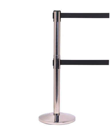 QueueMaster Twin 8.5 or 11 Foot Retractable Dual Belt Stanchion Polished Stainless Steel