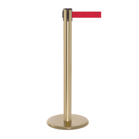 QueuePro 250 Polished Brass Retractable Belt Stanchions Queue Solutions