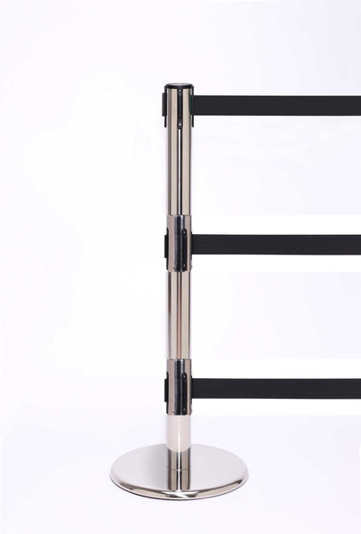 QueuePro Triple 250 Retractable 3-Belt Barrier Polished Stainless Stanchion Post, QueueSolutions PROTriple250PS-BK