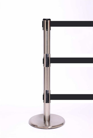 QueuePro Triple 250 11 or 13 Foot Retractable Three Belt Stanchion Satin Stainless Steel