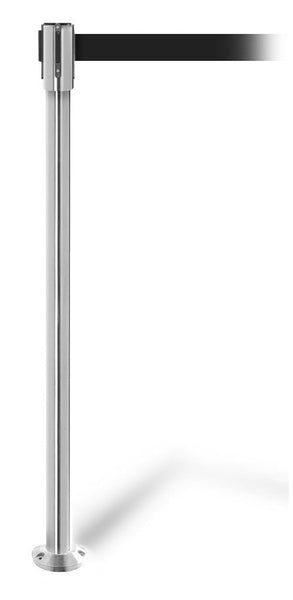 QueuePro 200 Fixed-Mount Slim Line Retractable Belt Barrier, Steel Stanchion Post, QueueSolutions PRO200FX-PS-BK