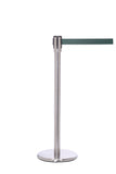 QueuePro 200 Slim Line Premium Retractable Belt Barrier, Satin Stainless Stanchion Post, QueueSolutions PRO200SS-BK