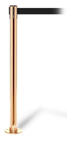 QueuePro 250 Fixed 11 or 13 Foot Thin Line Retractable Belt Stanchion Polished Brass Black Belt