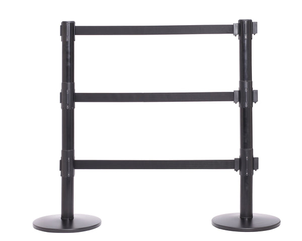 QueuePro Triple 250 11 or 13 Foot Retractable Three Belt Stanchion Black Connected